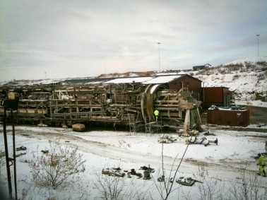 2010. Borren Åsa förbereds att byta tunnelrör.
